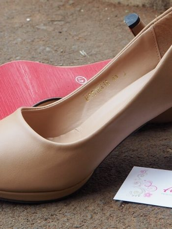 Nude Peep Toe Double Sole Heel
