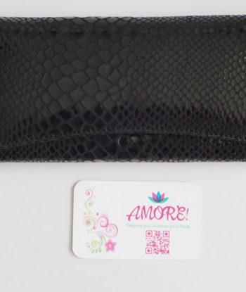Black Snake Skin Leather Wallet