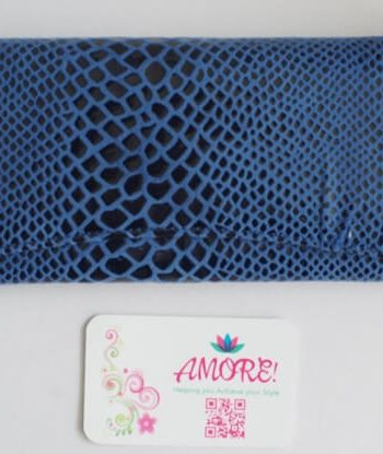 Blue Snake Skin Leather Wallet