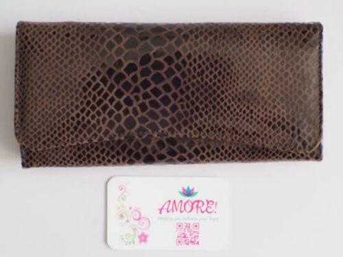 Coffee Snakeskin Leather Wallet