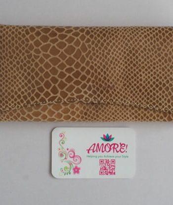Nude Snake Skin Leather Wallet