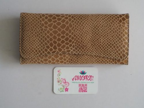 Nude Snake Skin Leather Wallet