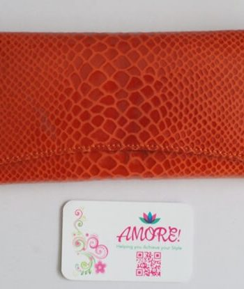 Orange Snake Skin Leather Wallet