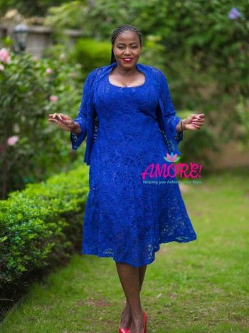 ROYAL BLUE LACE JACKET DRESS