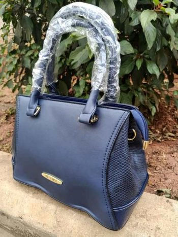 Navy blue side croco bag
