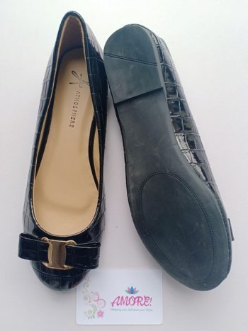 Black croco wetlook doll shoe