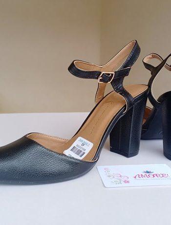 Black matte sling back heel