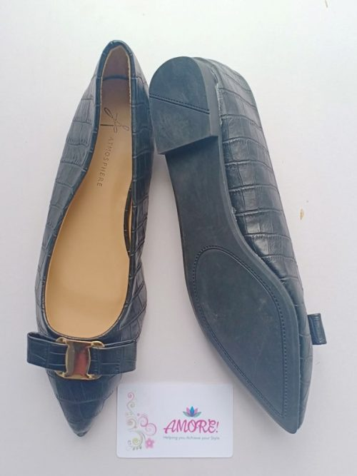 Black pointed with bow doll shoe
