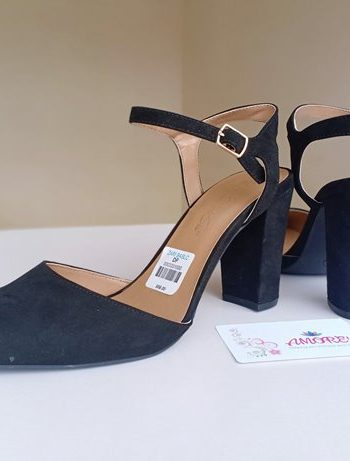 Black suede sling back heel
