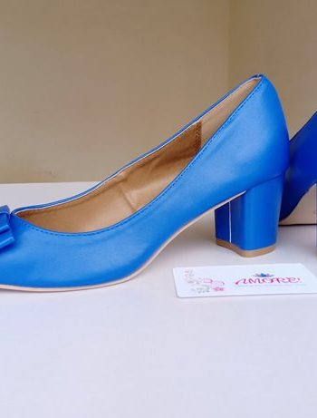 Blue bow matte chunky heel