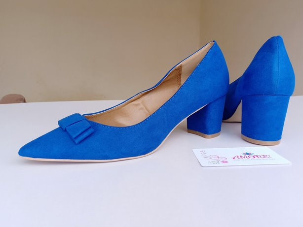 Blue suede bow chunky heel