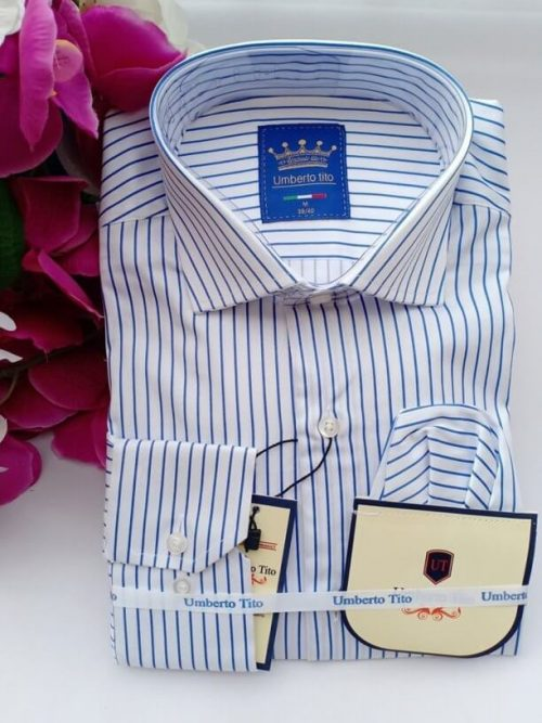 Blue white striped shirt