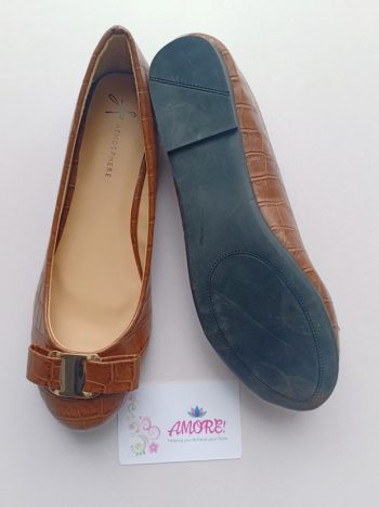 Brown croco doll shoe