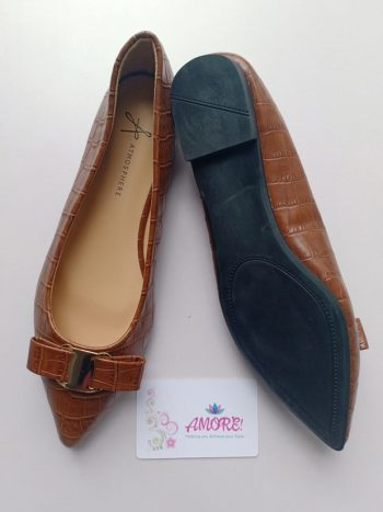Brown pointed with bow doll shoe