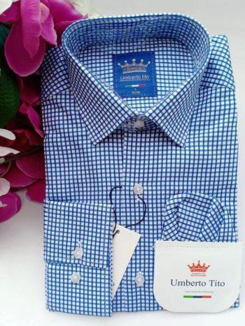 Mid blue checked shirt