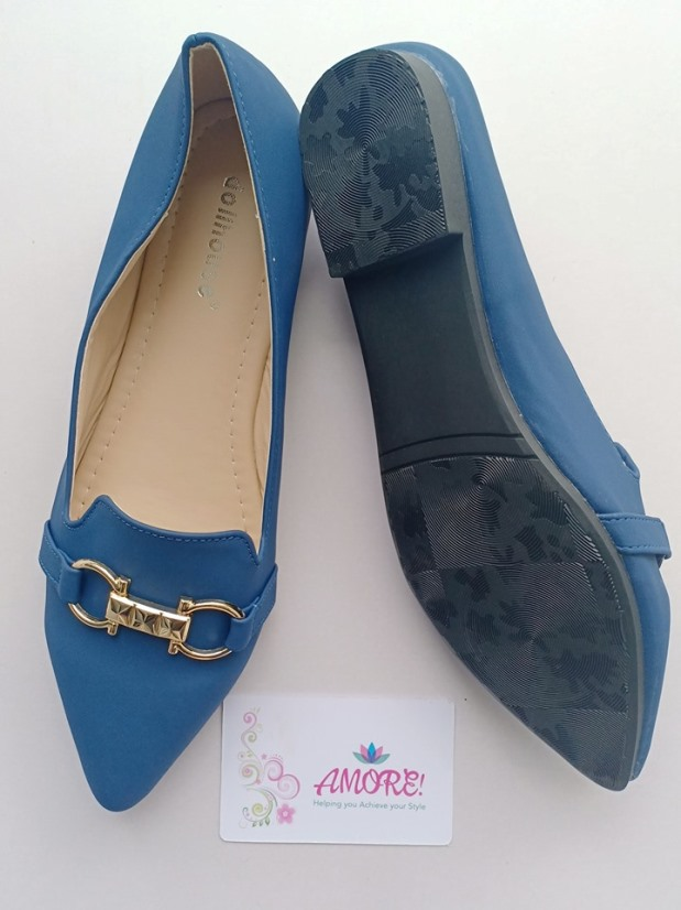 Navy blue pointed with buckle doll shoe