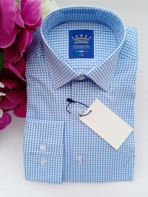 Sky blue checked shirt