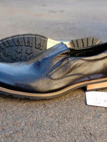 Black brown sole slip on