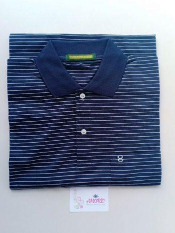 Blue white striped polo tshirt