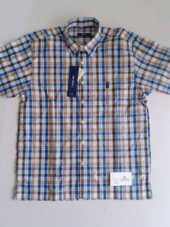 Checked brown and blue shirt