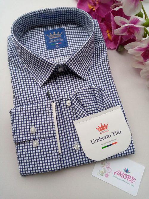 Dark blue and white checked shirt