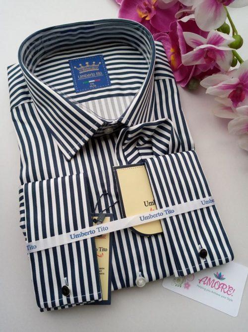 Dark blue striped shirt
