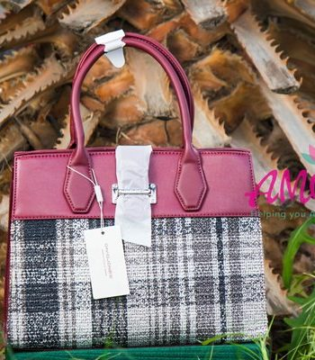 Maroon checked David Jones bag