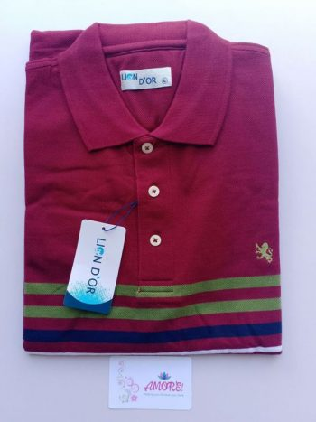 Maroon striped polo tshirt