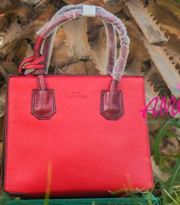 Red animal print strap bag