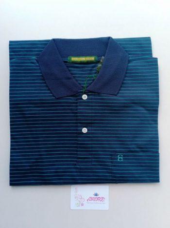 Striped turquiose blue polo tshirt