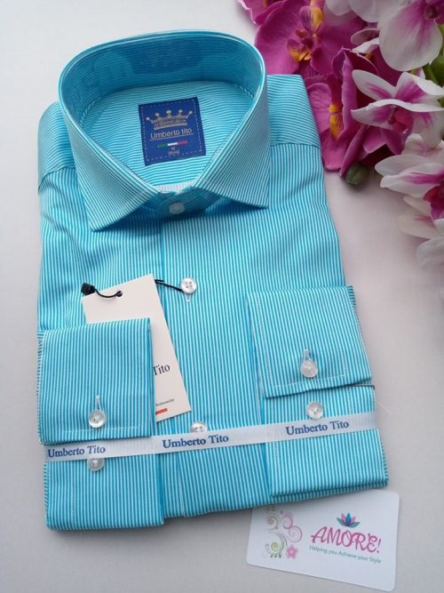 Turquiose blue striped shirt