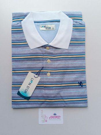 White blue striped polo tshirt