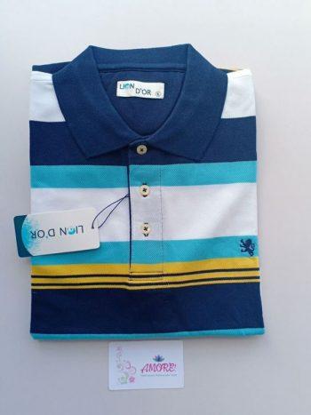 White blue yellow striped polo tshirt
