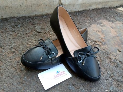 Black with ribbon doll shoe