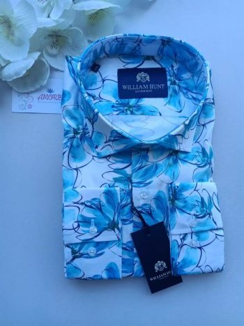 Floral Blue and White shirt