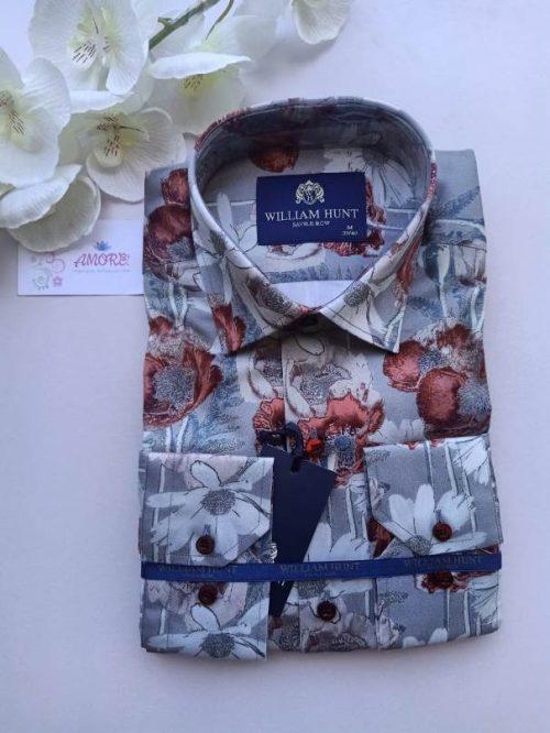 Floral grey and maroon shirt
