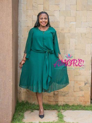 Green pleated chiffon dress