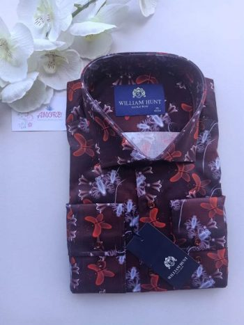 Maroon red floral shirt