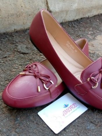 Maroon ribbon doll shoe