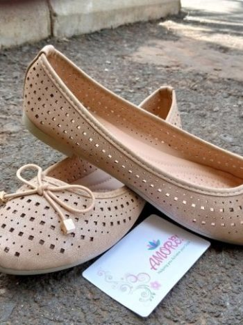 Nude perforated doll shoe