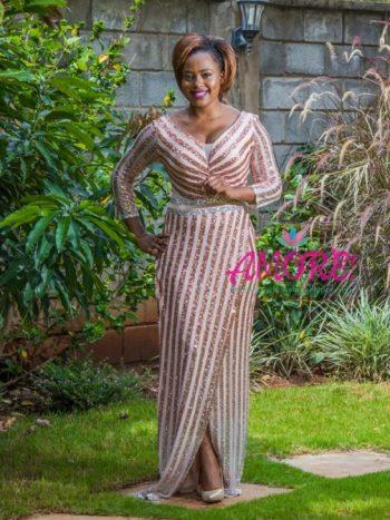 Peach sequin Turkey gown