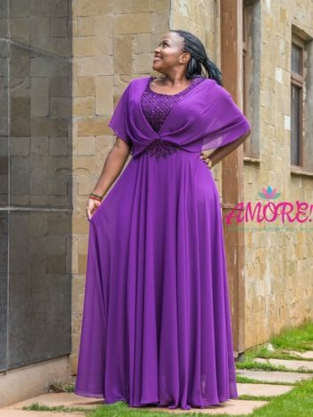 Purple chiffon Turkey gown