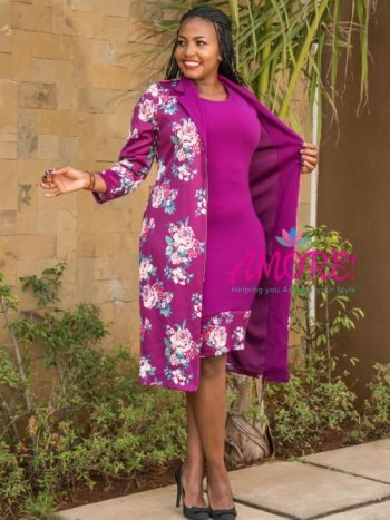 Purple floral jacket dress