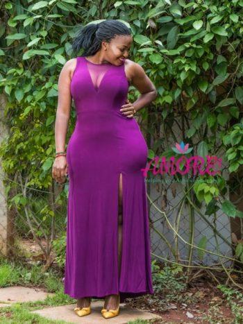 Purple side slit gown