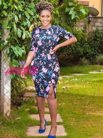 Black floral dress with side slit