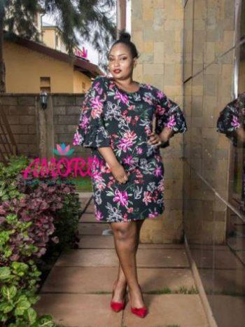 Black pink floral shift dress