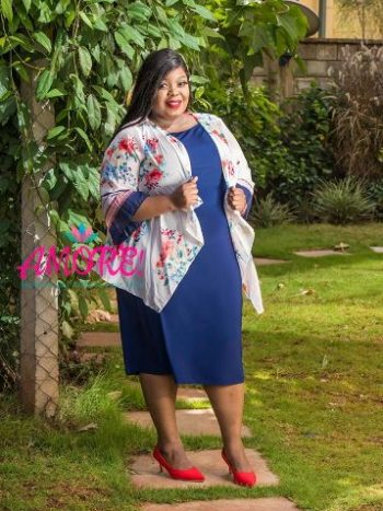 Blue dress with chiffon floral white cover