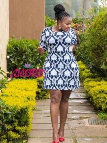 Blue white floral shift dress