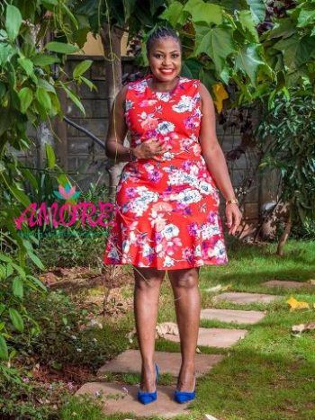 Floral coral dress with pleats