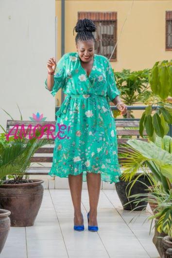 Floral green chiffon dress